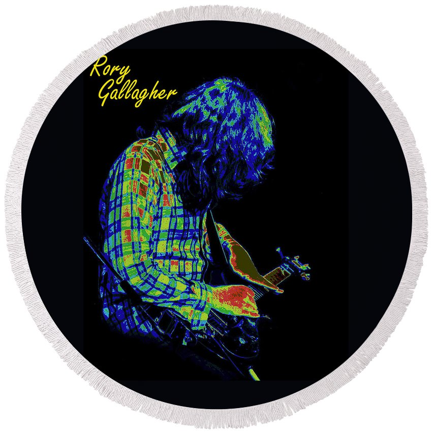 Rock Musicians Round Beach Towel featuring the photograph Cosmic Light 2 by Ben Upham