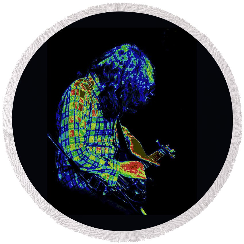 Rock Musicians Round Beach Towel featuring the photograph Cosmic Light by Ben Upham