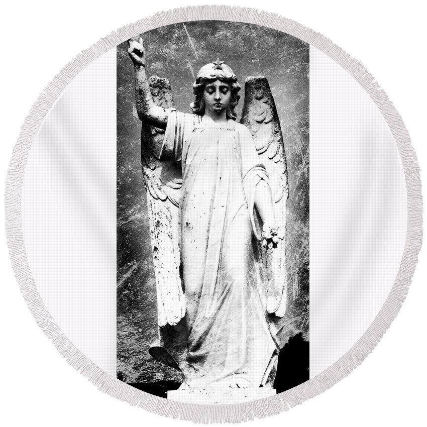 Roscommon Round Beach Towel featuring the photograph Roscommon Angel No 2 by Teresa Mucha