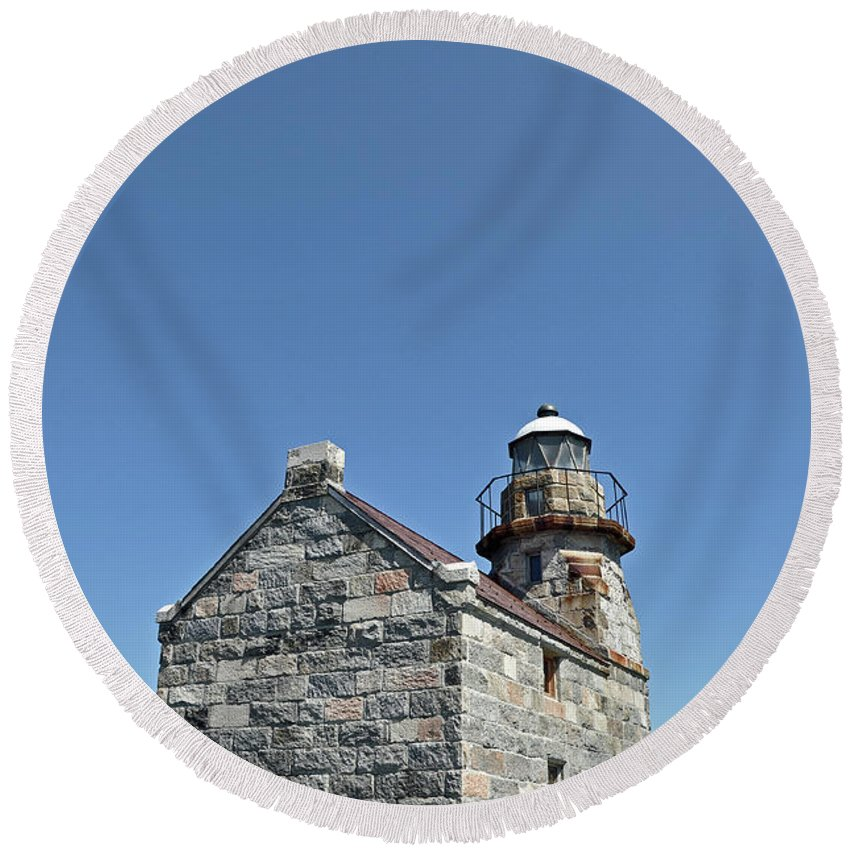 Rose Blanche Round Beach Towel featuring the photograph Rose Blanche Lighthouse II by Colleen English