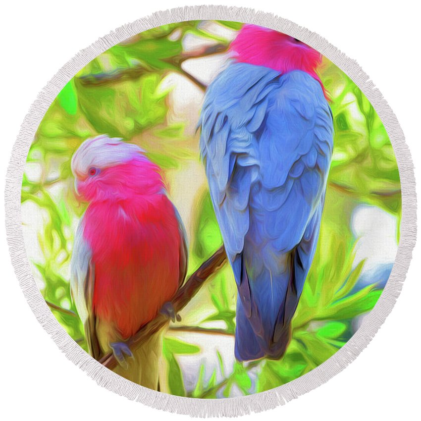 Galahs Round Beach Towel featuring the photograph Rose cockatoos by Sheila Smart Fine Art Photography