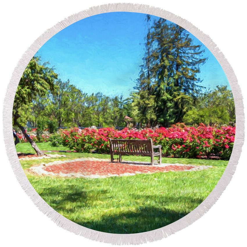 California Round Beach Towel featuring the digital art Rose Garden Benches Impressionist Digital Painting by Randy Herring