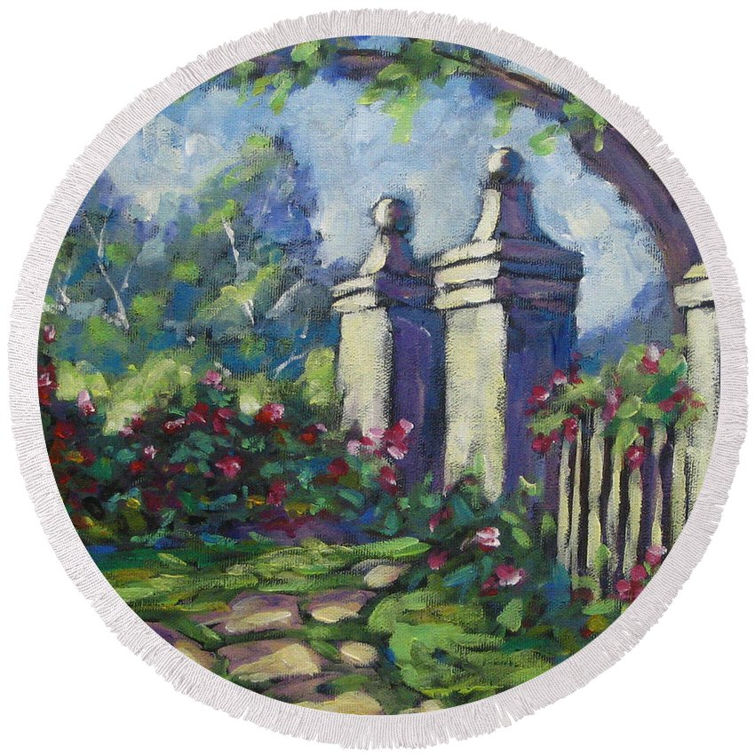 Rose Round Beach Towel featuring the painting Rose Garden by Richard T Pranke