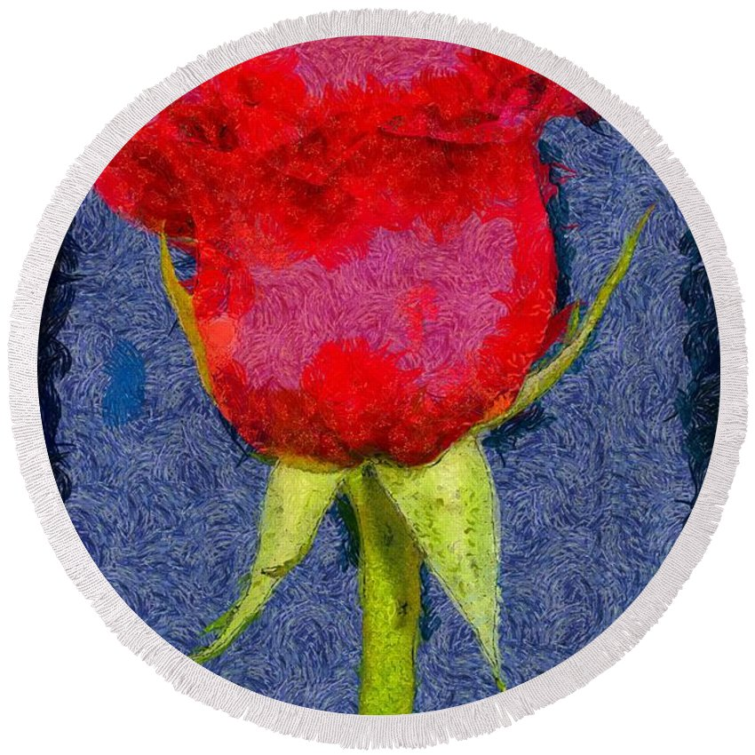 Red Round Beach Towel featuring the painting Rose - Id 16236-104956-0793 by S Lurk