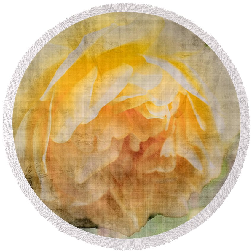 Rose Round Beach Towel featuring the digital art Rose In Bloom by Cathy Anderson
