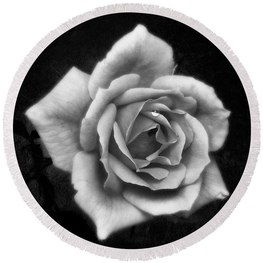 Beautiful Round Beach Towel featuring the photograph Rose In Mono. #flower #flowers by John Edwards