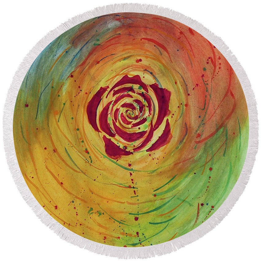 Abstract Round Beach Towel featuring the painting Rose In Vorteks by Tui Sada