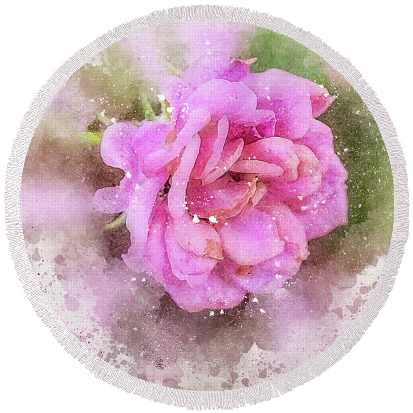 Close-up Round Beach Towel featuring the photograph Rose by Louloua Asgaraly