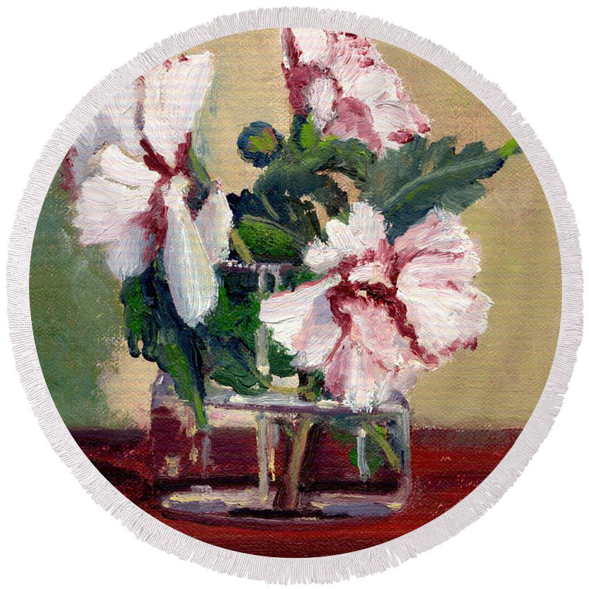 Impressionism Round Beach Towel featuring the painting Rose Of Sharon by Keith Burgess