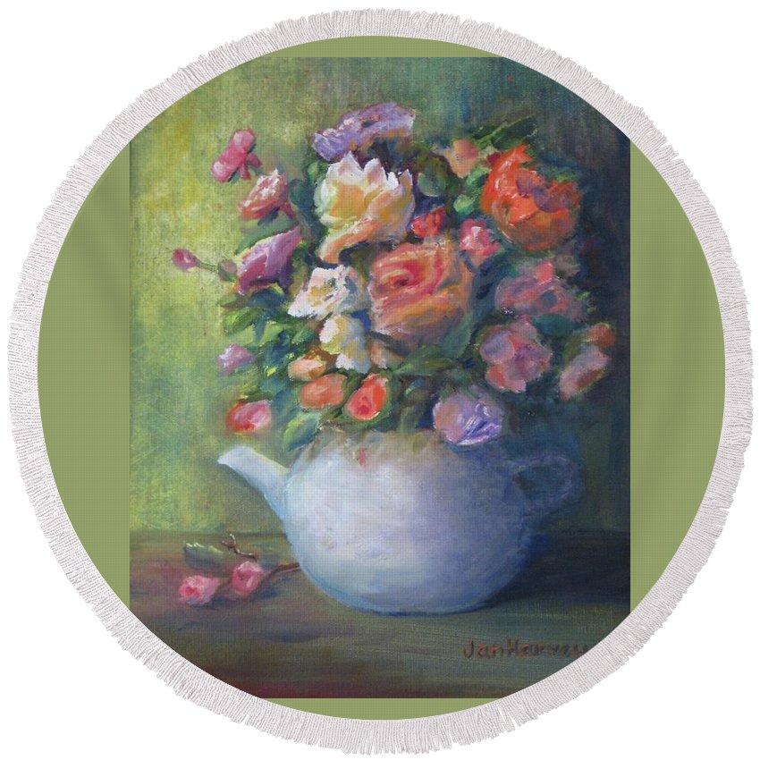 Rose Petal Tea Pot Round Beach Towel featuring the painting Rose Petal Tea Pot by Jan Harvey