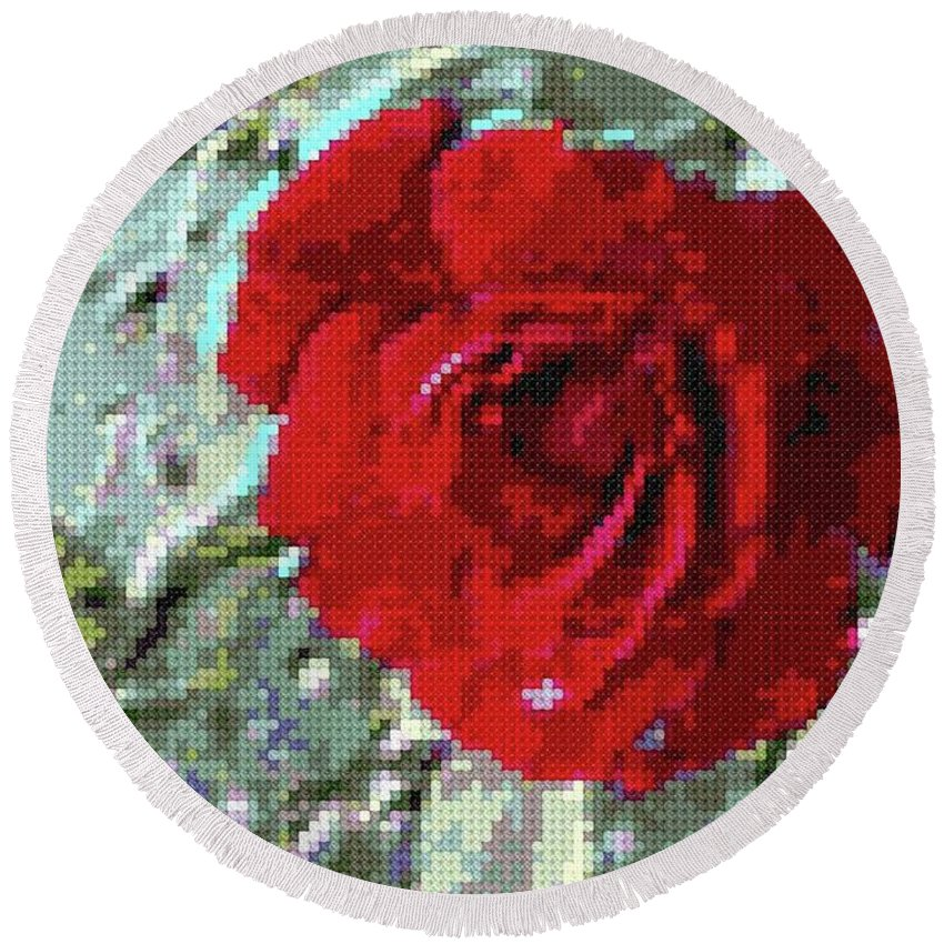 Nature Round Beach Towel featuring the photograph Rose Red by James Owens