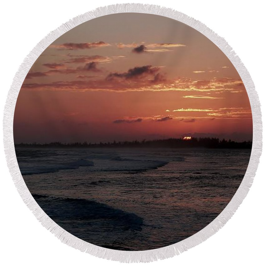 Cayman Islands Stock Photographs Round Beach Towel featuring the photograph Rose Sunset by Amar Sheow