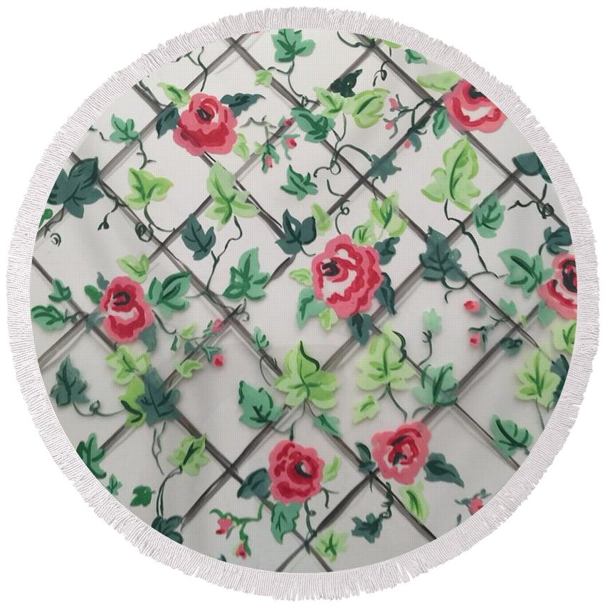Round Beach Towel featuring the painting Rose Trellis by Bruce Cohose