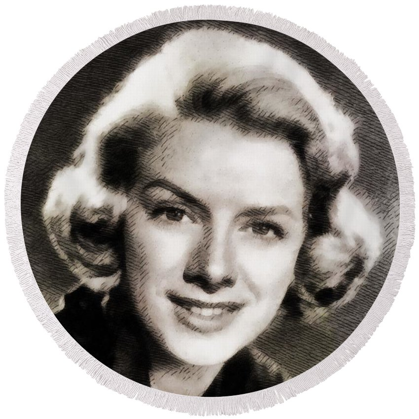 Hollywood Round Beach Towel featuring the painting Rosemary Clooney, Music Legend by John Springfield