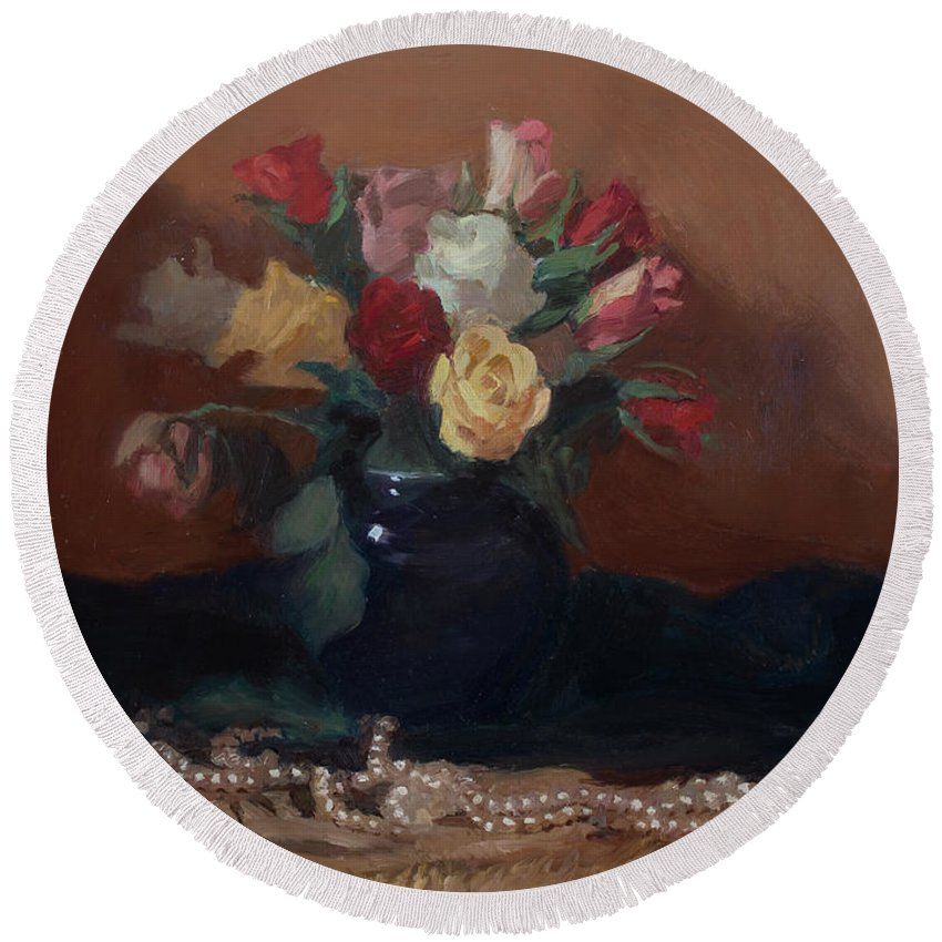 Roses Round Beach Towel featuring the painting Roses And Pearls by Walter Lynn Mosley