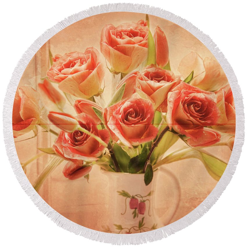 Rose Round Beach Towel featuring the photograph Roses And Tulips by Alana Ranney