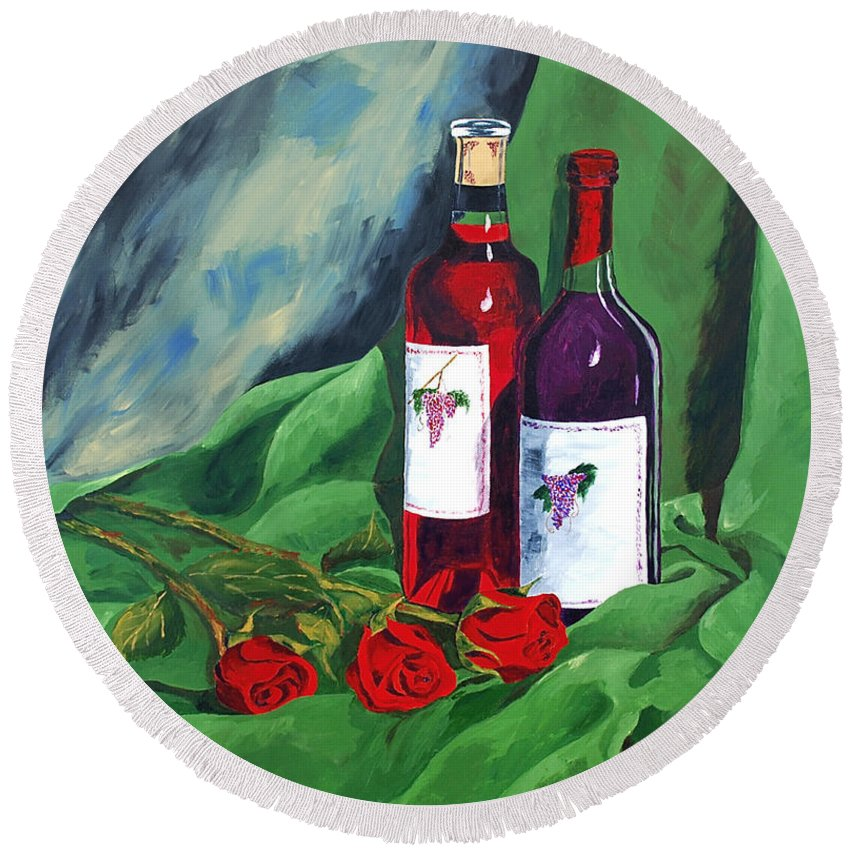 Wine And Roses Red Roses Red Wine Still Life Round Beach Towel featuring the painting Roses And Wine by Herschel Fall