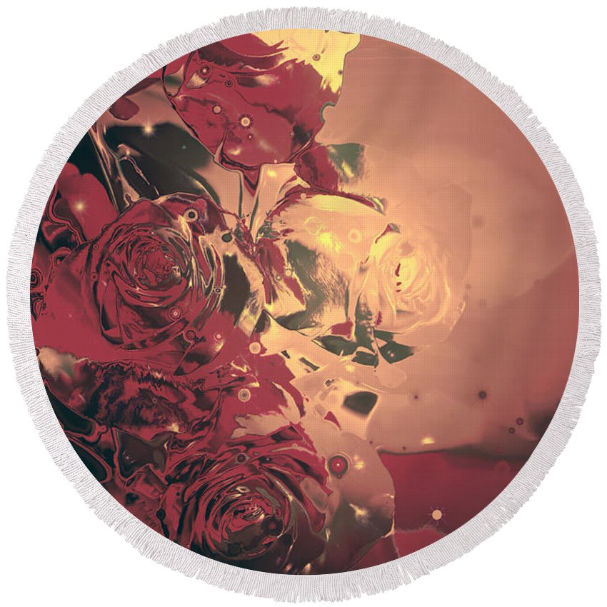 Theresa Campbell Round Beach Towel featuring the digital art Roses Are Forever by Theresa Campbell