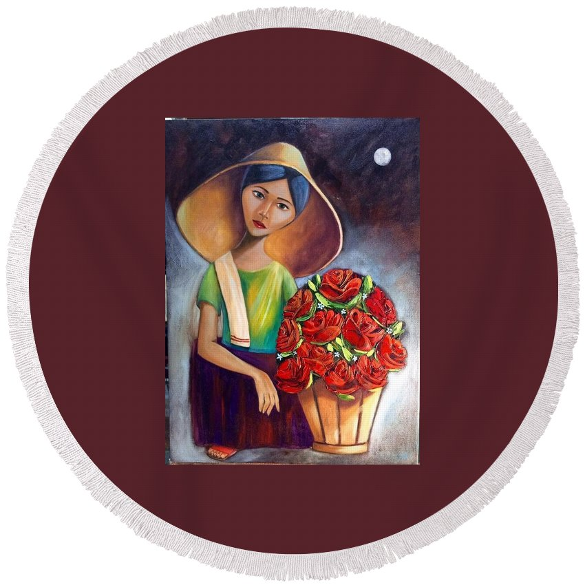 Round Beach Towel featuring the painting Roses Are Ref by Khristina Manansala