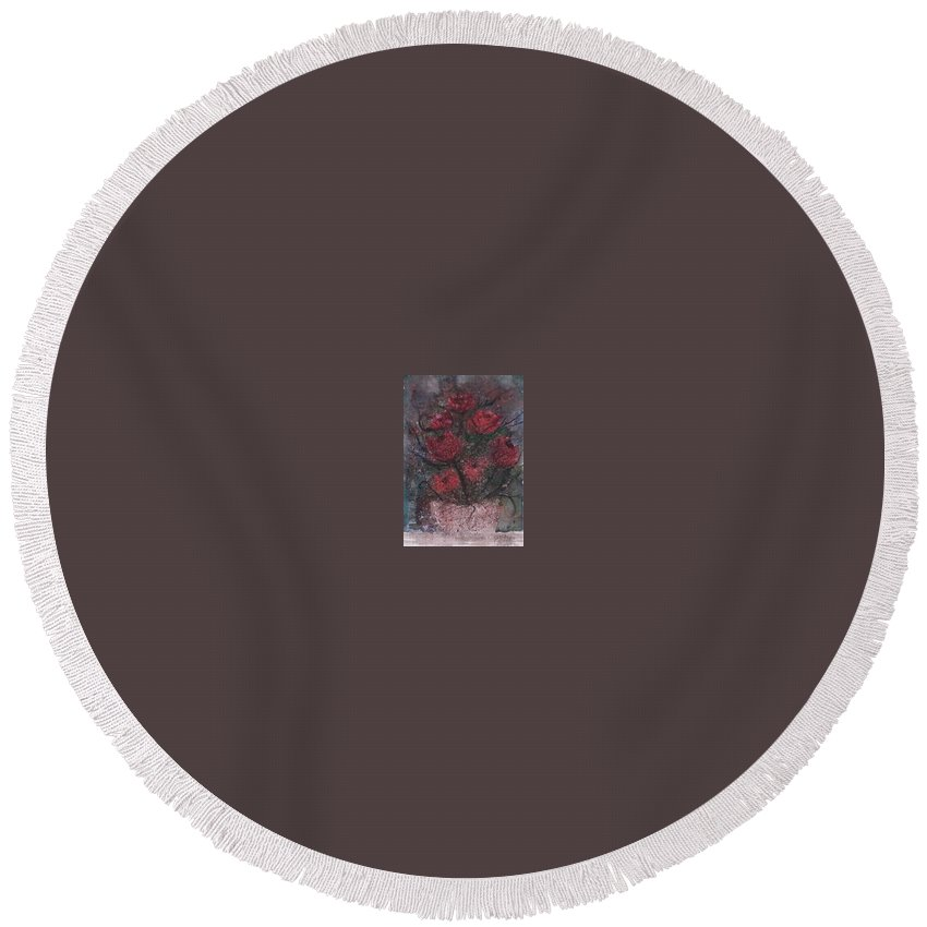 Watercolor Round Beach Towel featuring the painting ROSES AT NIGHT gothic surreal modern painting poster print by Derek Mccrea