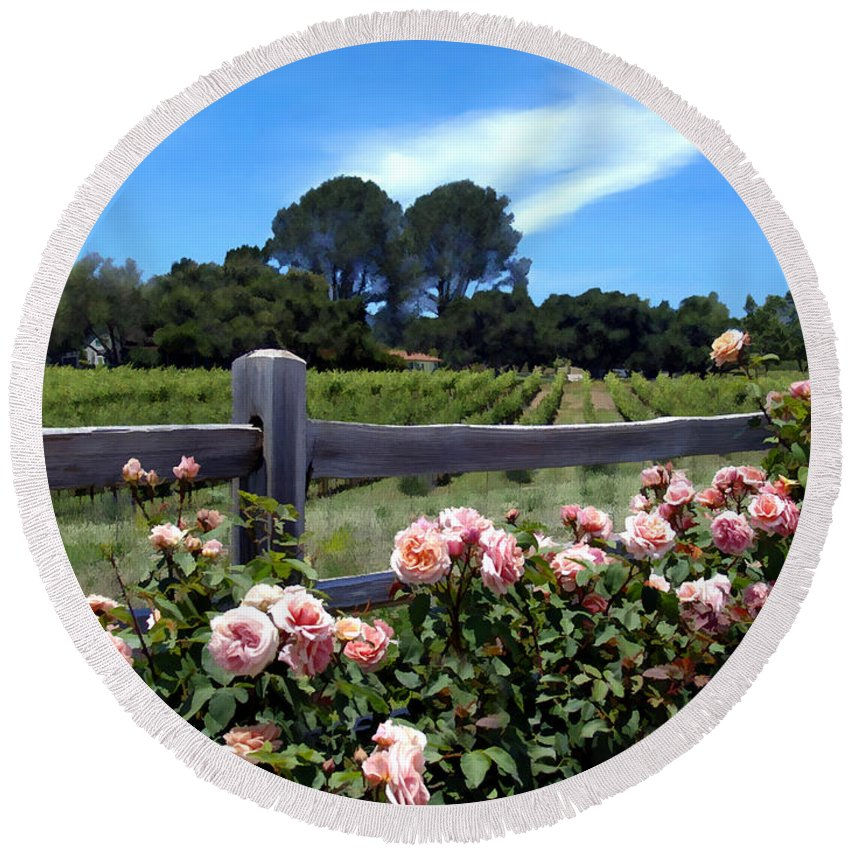 Flowers Round Beach Towel featuring the photograph Roses At Rusack Vineyards by Kurt Van Wagner