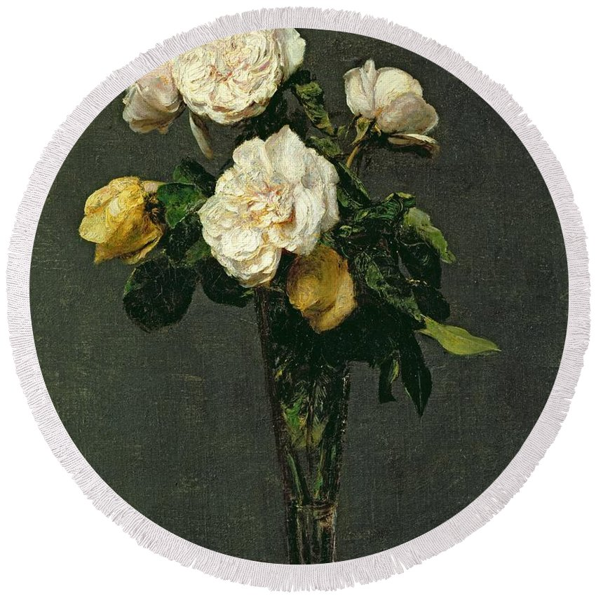 Roses Round Beach Towel featuring the painting Roses in a Champagne Flute by Ignace Henri Jean Fantin-Latour