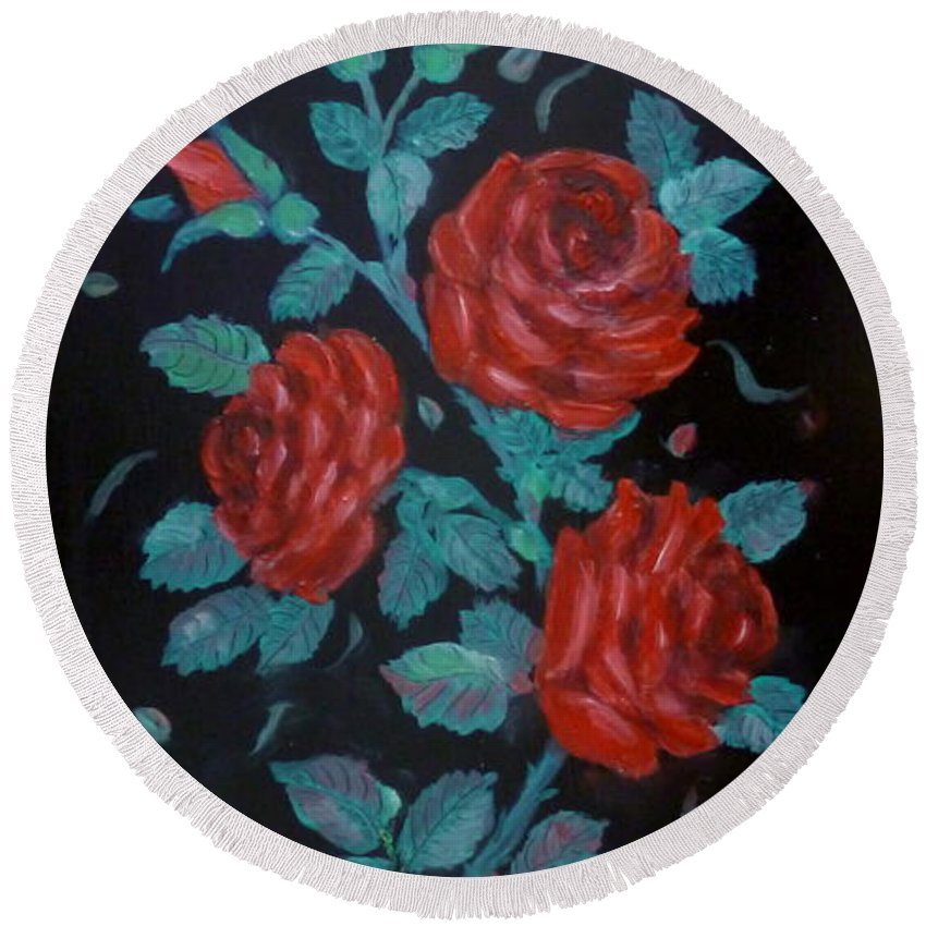 Roses Round Beach Towel featuring the painting Roses In The Classic Style by Anna Folkartanna Maciejewska-Dyba