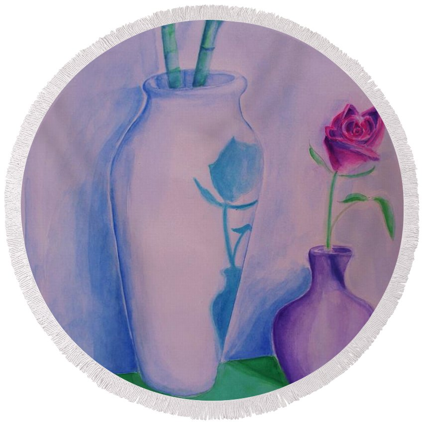 Red Rose Round Beach Towel featuring the painting Roses In Vase by Eric Schiabor