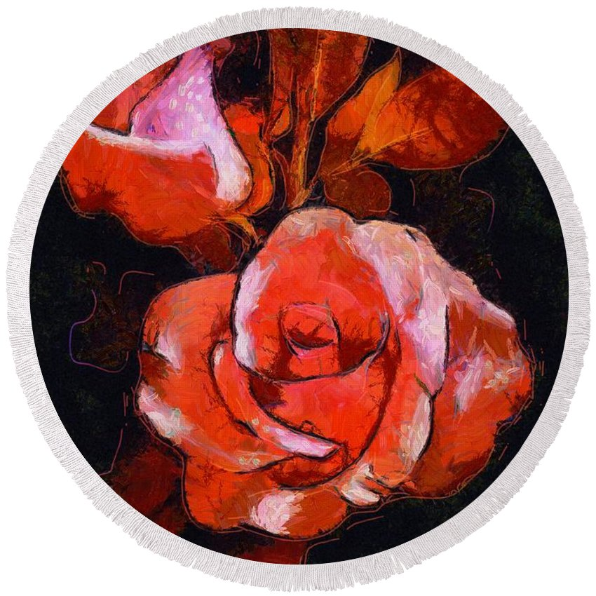 Roses Painted And Drawn Round Beach Towel featuring the digital art Roses Painted And Drawn by Catherine Lott