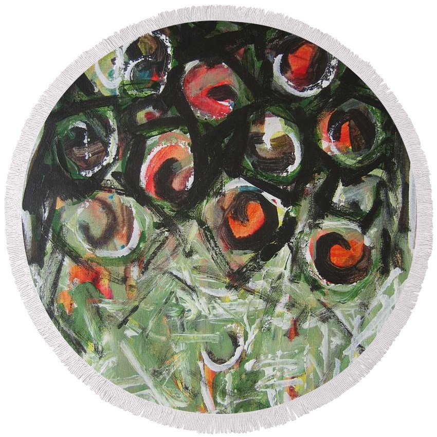 Abstract Painting Round Beach Towel featuring the painting Roses by Seon-Jeong Kim