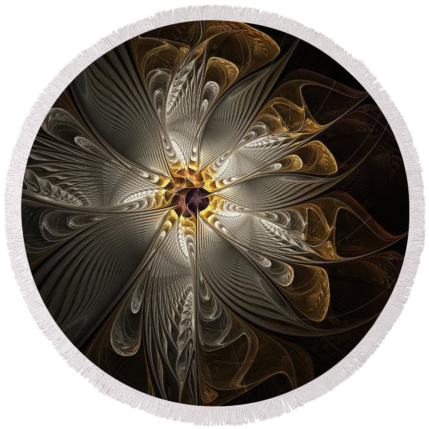 Digital Art Round Beach Towel featuring the digital art Rosette In Gold And Silver by Amanda Moore