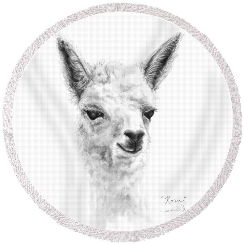 Llama Art Round Beach Towel featuring the drawing Rosie by K Llamas