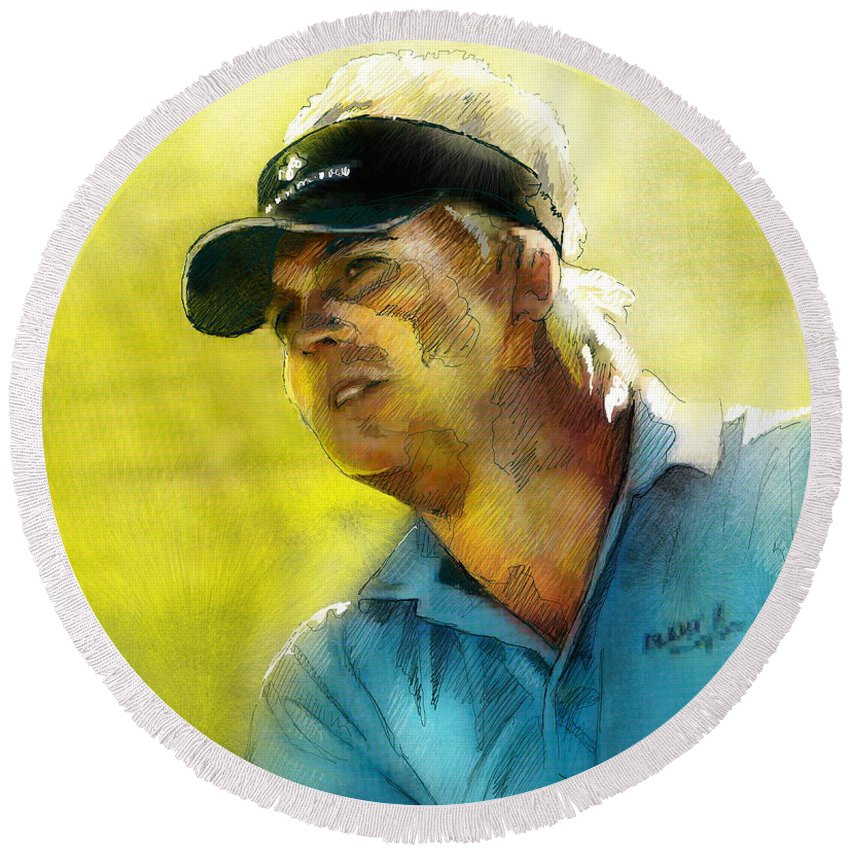 Golf Painting Portrait Ross Mcgowan Round Beach Towel featuring the painting Ross Mcgowan In The Madrid Masters by Miki De Goodaboom