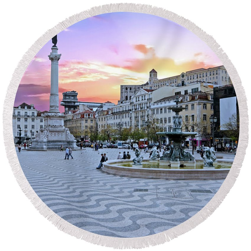 Square Round Beach Towel featuring the photograph Rossio Square In Lisbon Portugal At Sunset by Nisangha Ji