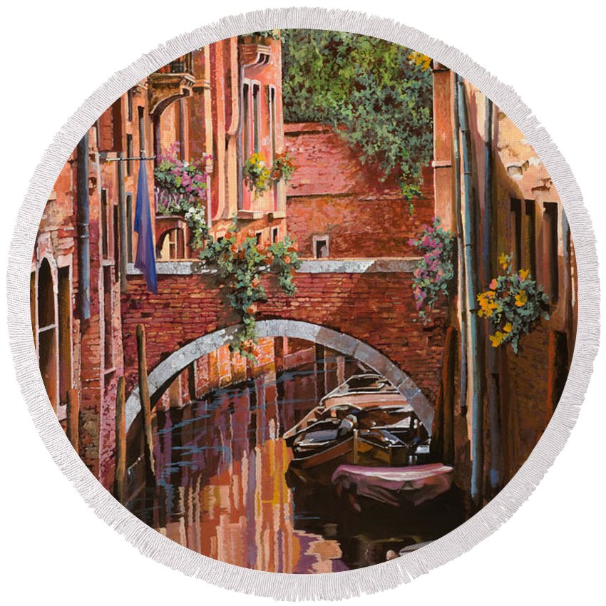 Venice Round Beach Towel featuring the painting Rosso Veneziano by Guido Borelli