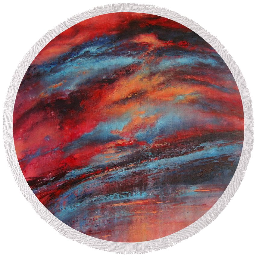 Abstract Round Beach Towel featuring the painting Rosy Glow by Valerie Travers