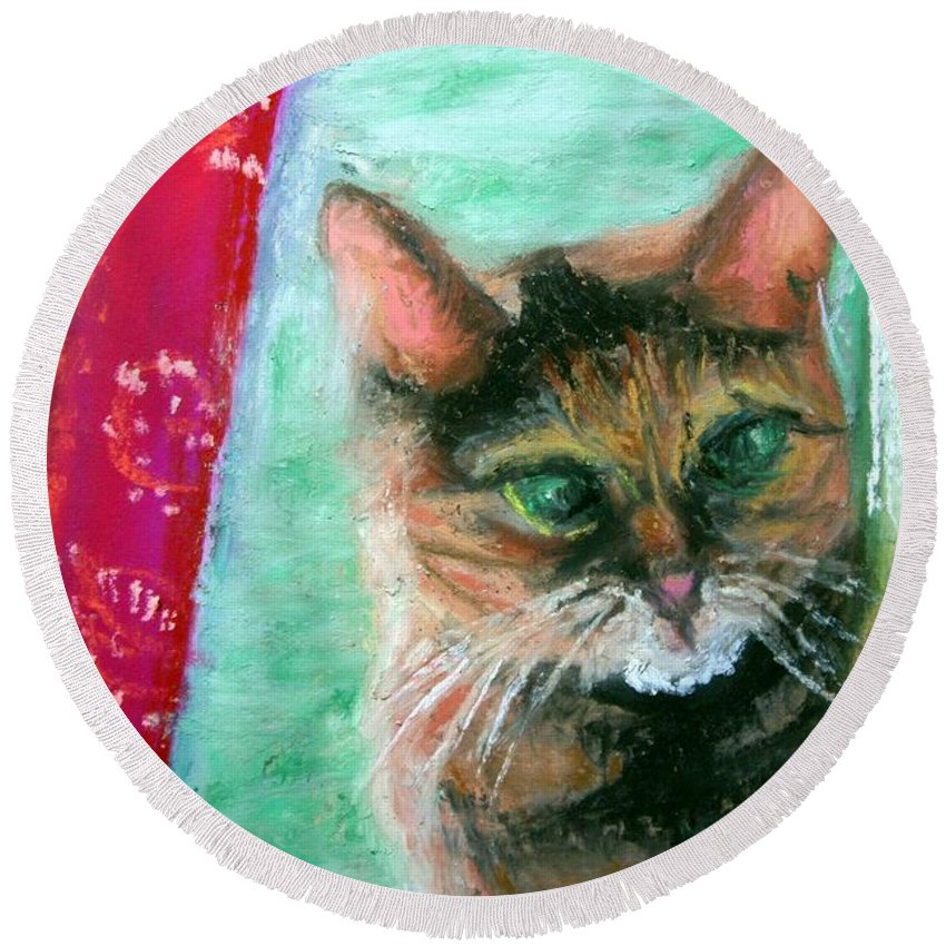 Cat Round Beach Towel featuring the painting Rosy In Color by Minaz Jantz