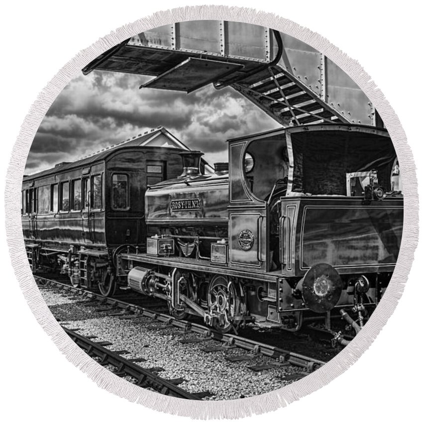Rosyth Number 1 Round Beach Towel featuring the photograph Rosyth No 1 At Furnace Sidings Mono by Steve Purnell