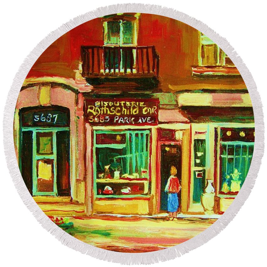 Montreal Round Beach Towel featuring the painting Rothchilds Jewellers On Park Avenue by Carole Spandau