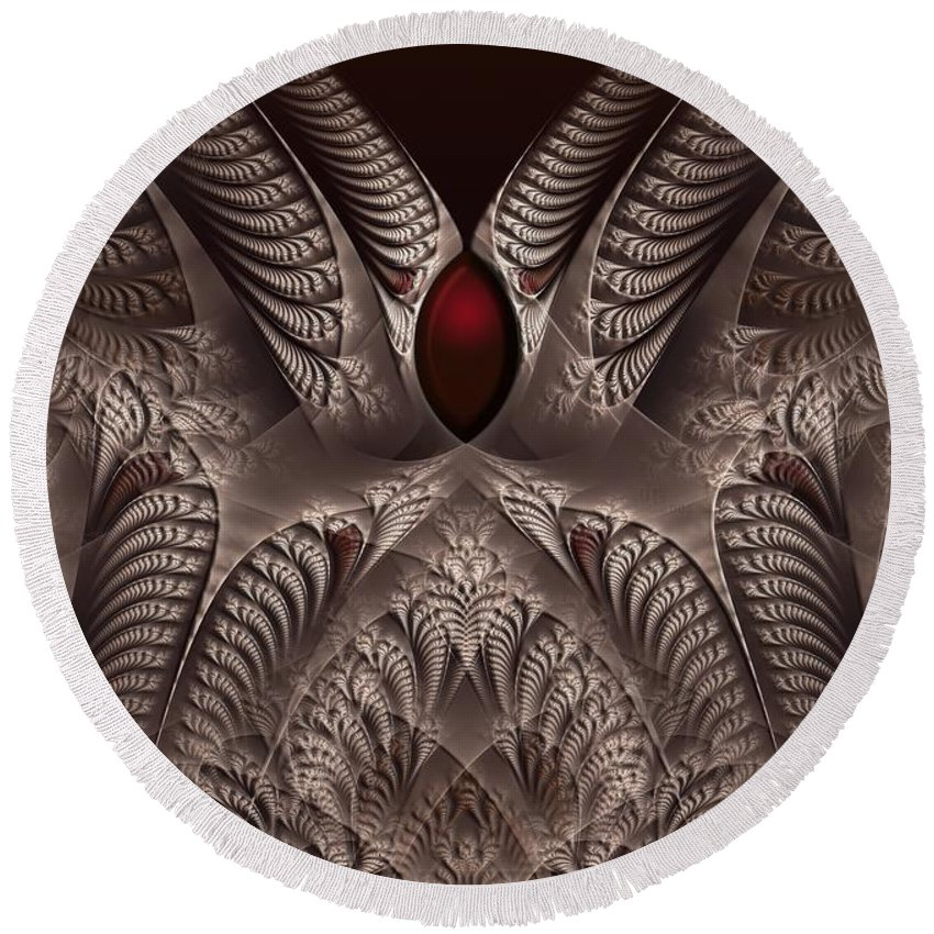 Fractal Round Beach Towel featuring the digital art rotl_01 Lord Of the Soil by Drasko Regul