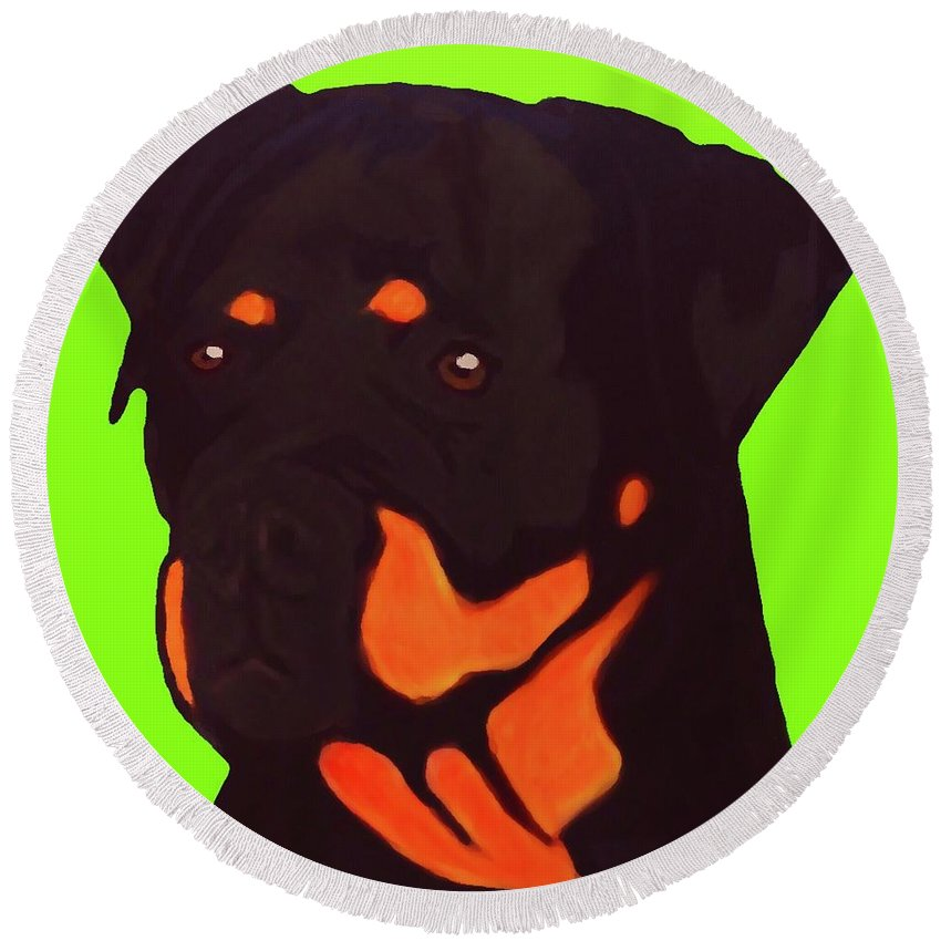Rottweiler Round Beach Towel featuring the digital art Rottweiler With Green by Immaculate World