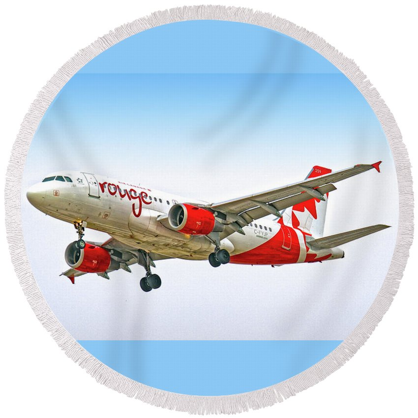 Airlines Round Beach Towel featuring the digital art Rouge by Gerald Voigt