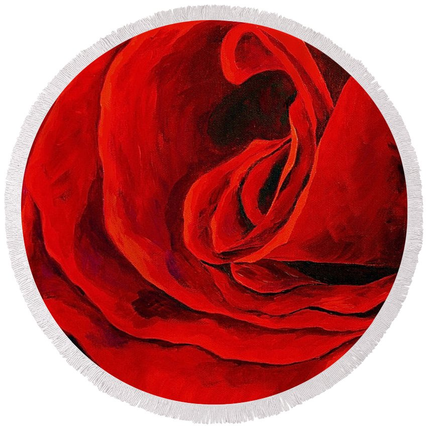 Rose Red Rose Deep Red Rose Round Beach Towel featuring the painting Rouge by Herschel Fall