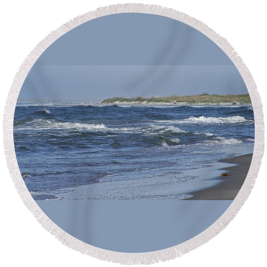 Ocean Round Beach Towel featuring the photograph Rough Day At The Beach by Teresa Mucha
