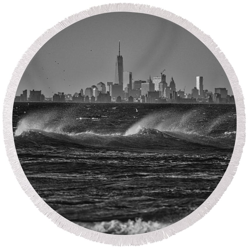 Photography Round Beach Towel featuring the photograph Rough Day by Raven Steel Design
