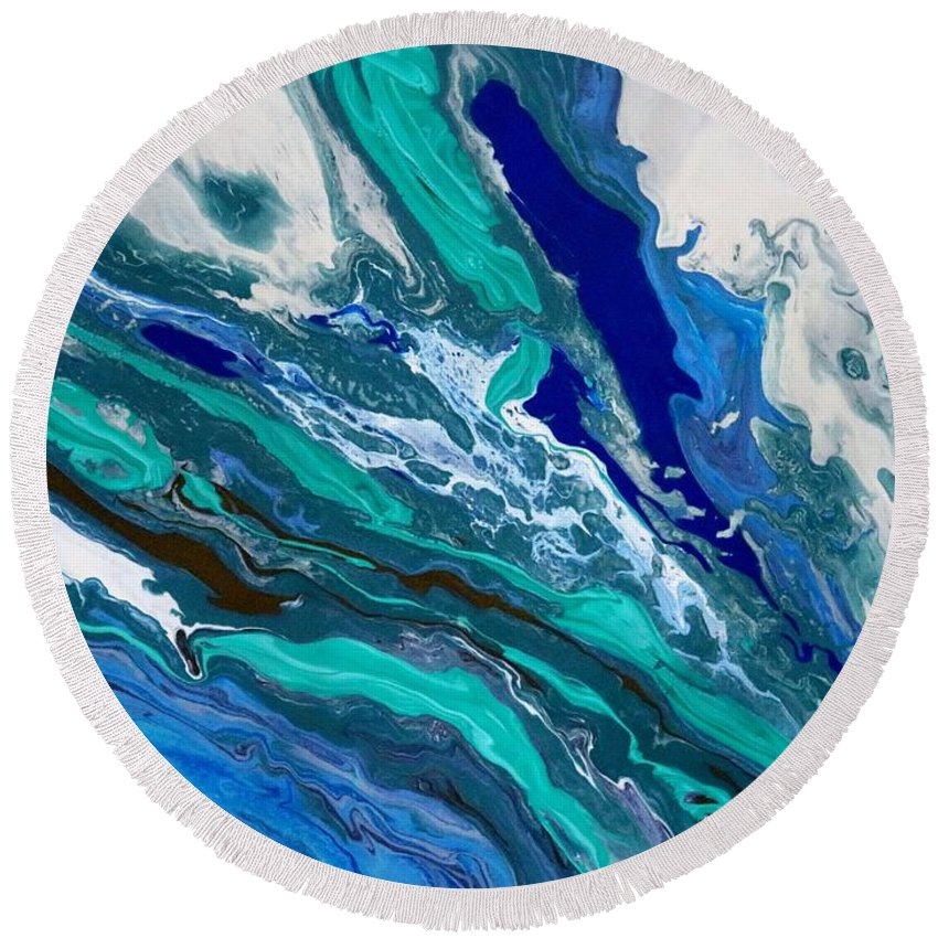 Abstract Round Beach Towel featuring the painting Rough Seas by Carole Sluski