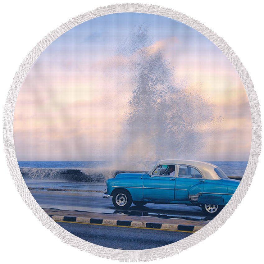 Cuba Round Beach Towel featuring the photograph Rough Surf On The Malecon by Claude LeTien