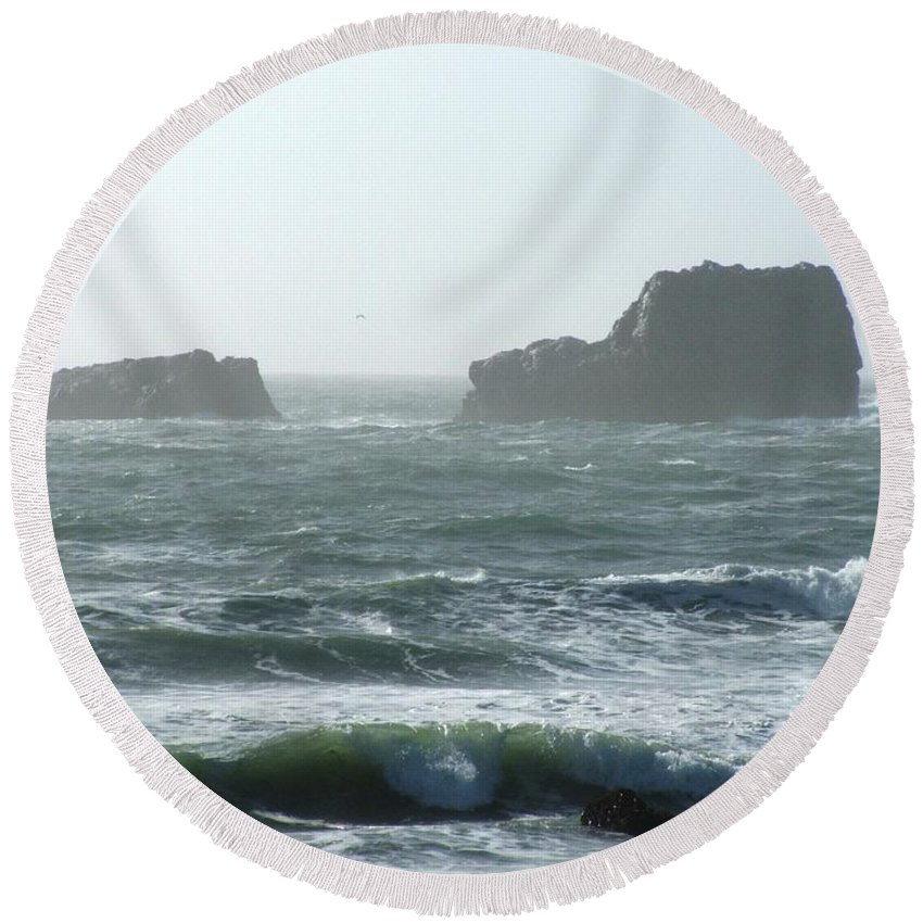 Oceanes Round Beach Towel featuring the photograph Rough Waters by Shari Chavira