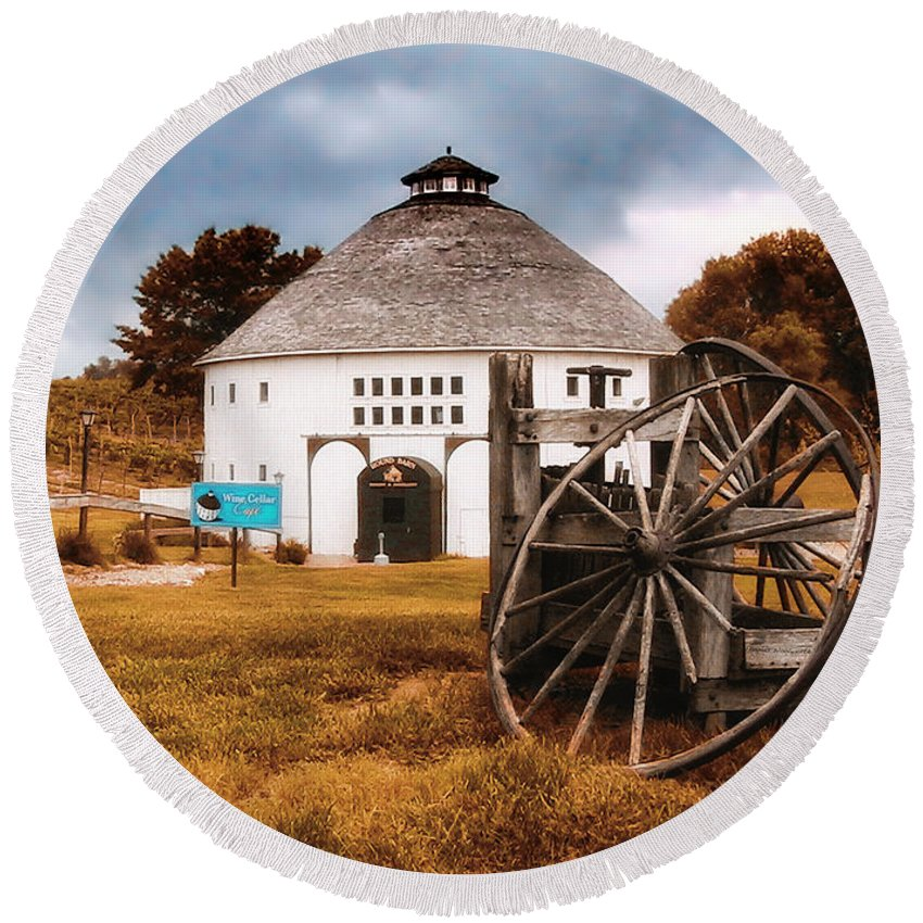 Michigan Round Beach Towel featuring the photograph Round Barn by Thomas Woolworth