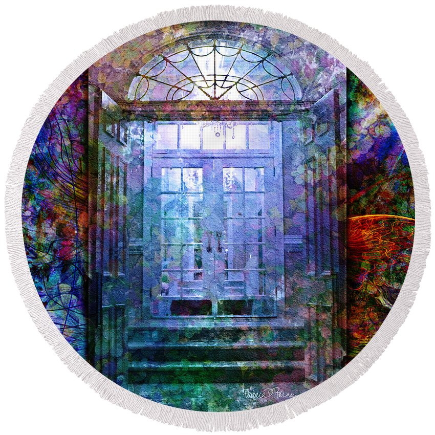 Arch Round Beach Towel featuring the digital art Rounded Doors by Barbara Berney